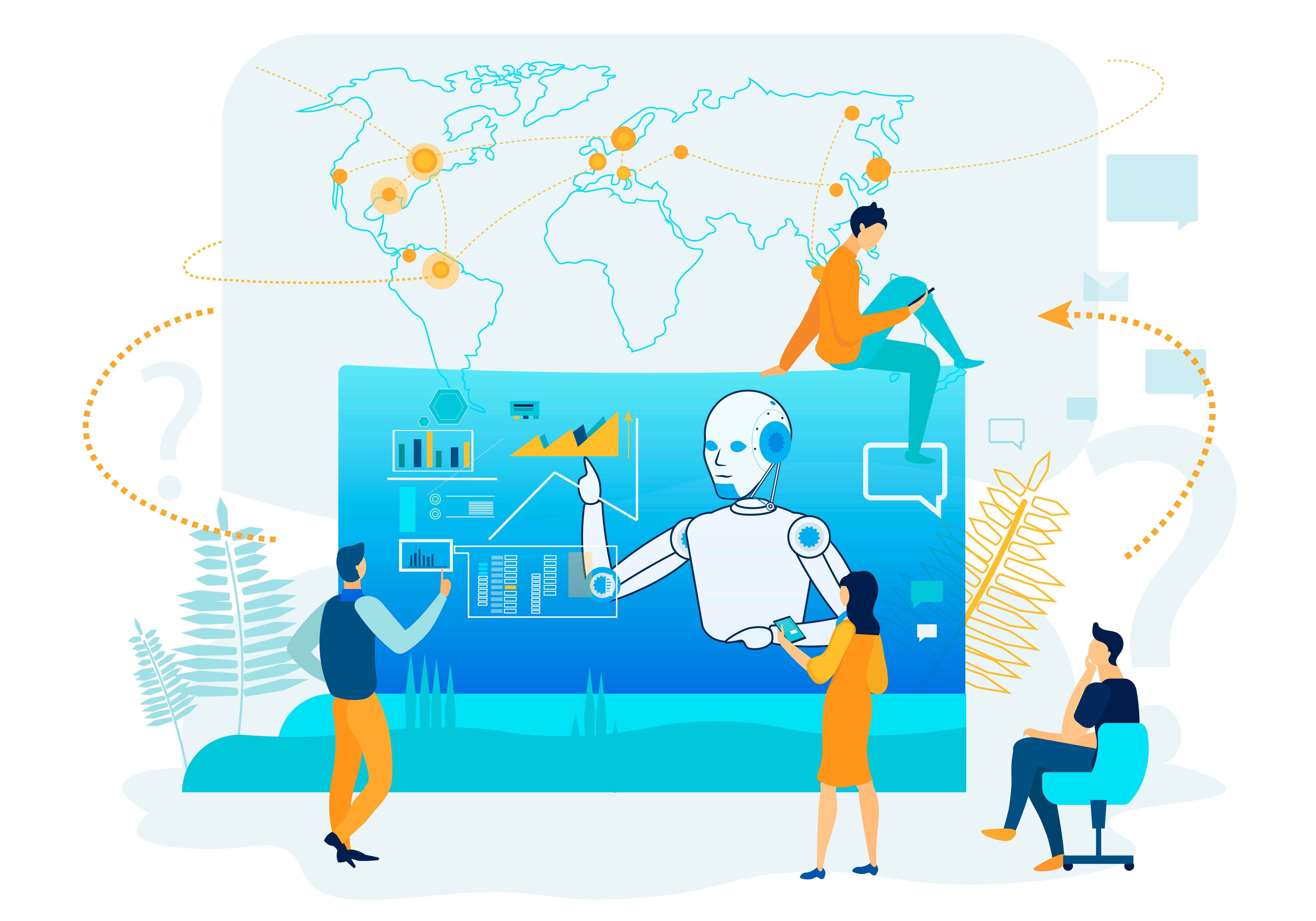 Изображение с взаимодействием между людьми и ИИ