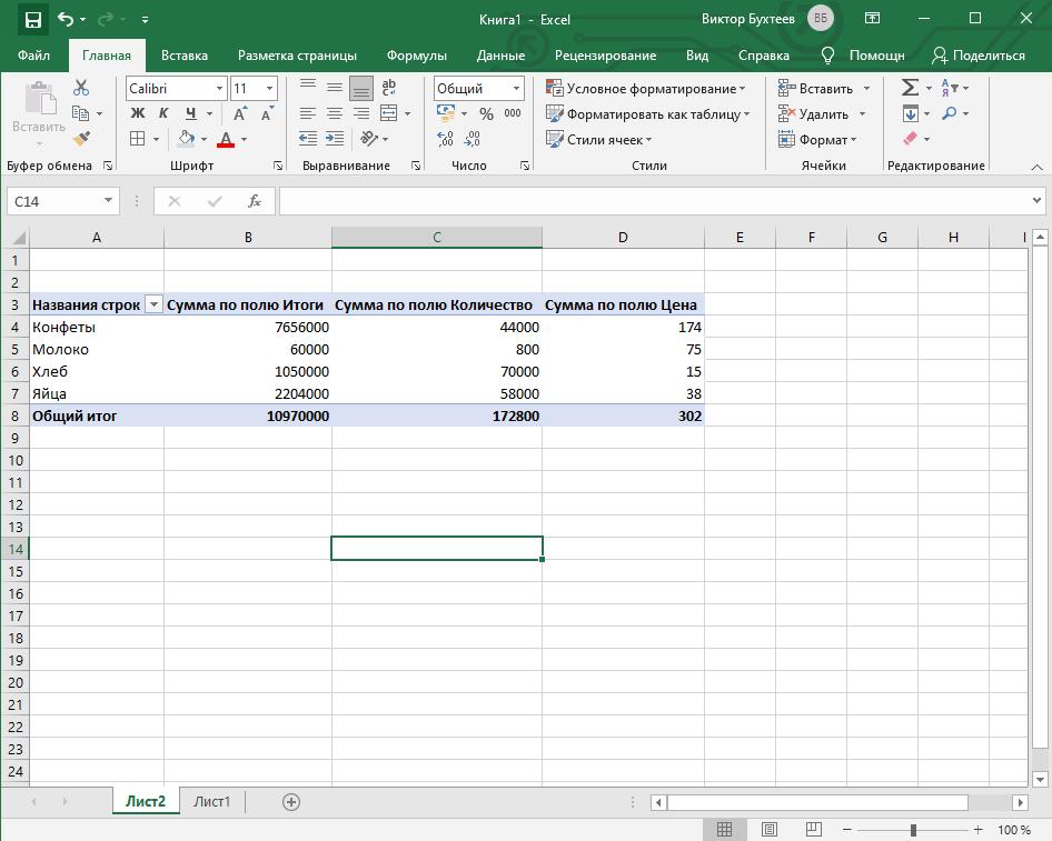Успешная вставка таблицы в Microsoft Excel