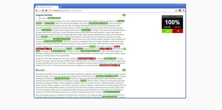 Интерфейс расширения Check My Links для Google Chrome