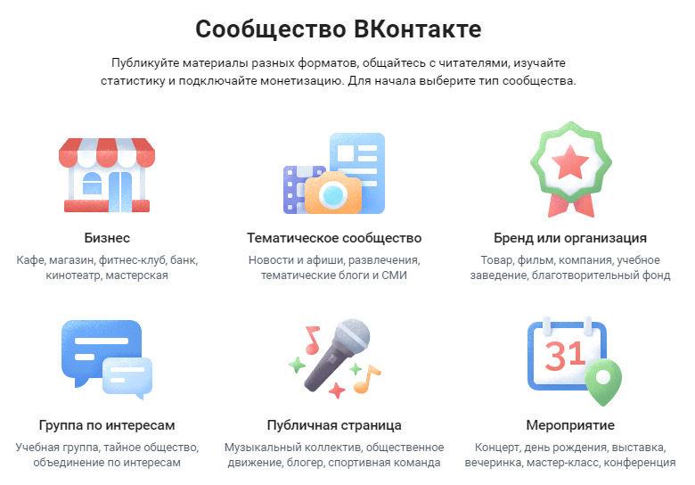 Типы сообществ во ВКонтакте