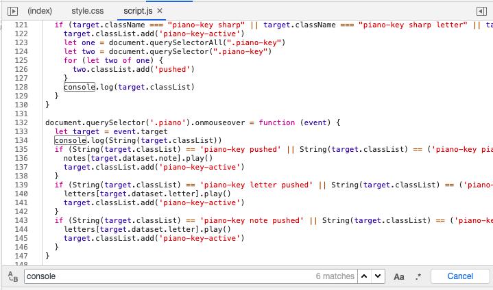 Пример команды console.log в коде