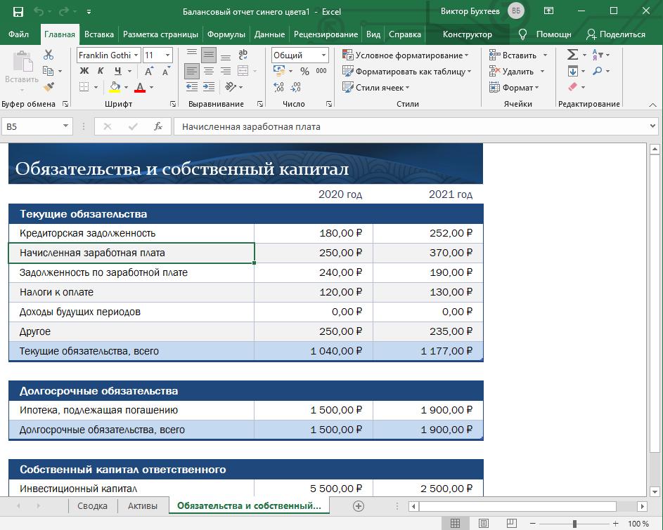 Лист с данными в шаблонной таблице Microsoft Excel