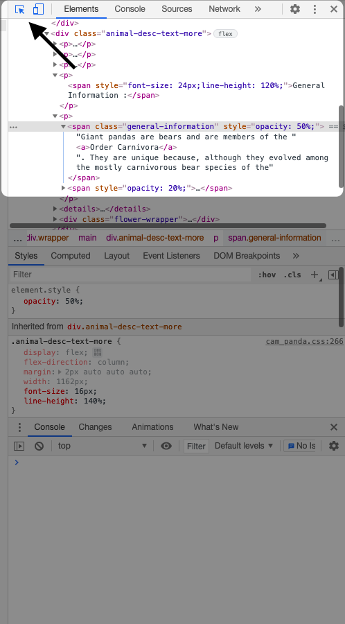 Кнопка поиска элементов на странице