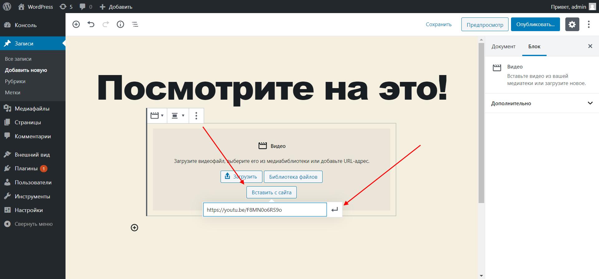 Как в WordPress добавить видео на страницу сайта