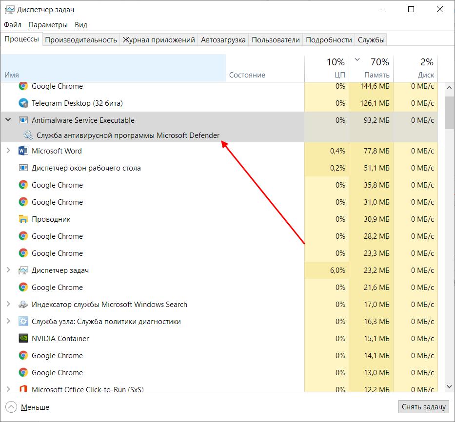 Процесс Windows Defender