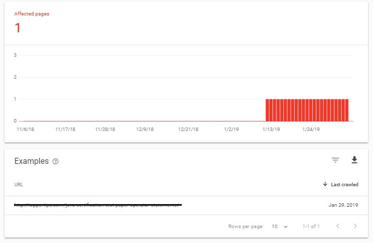 Ошибка в Google Search Console