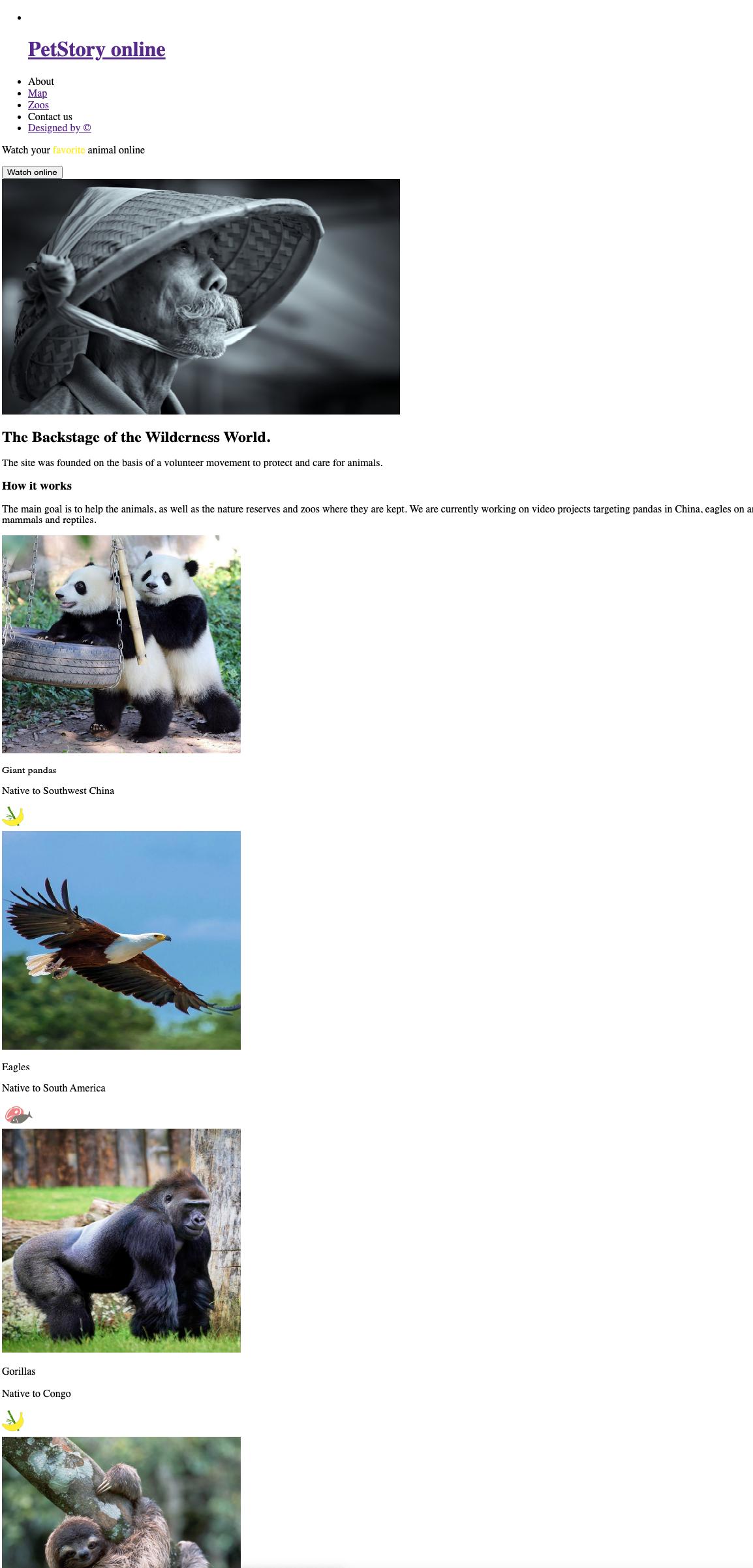 Сайт, созданный без использования CSS
