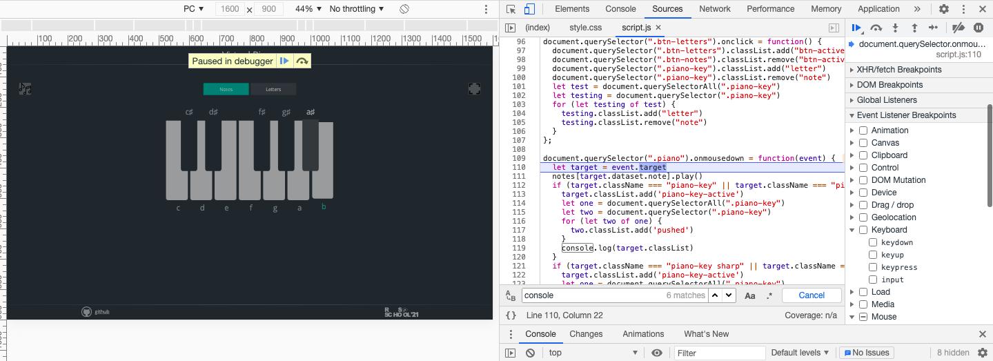 Пример остановки кода для дебаггинга