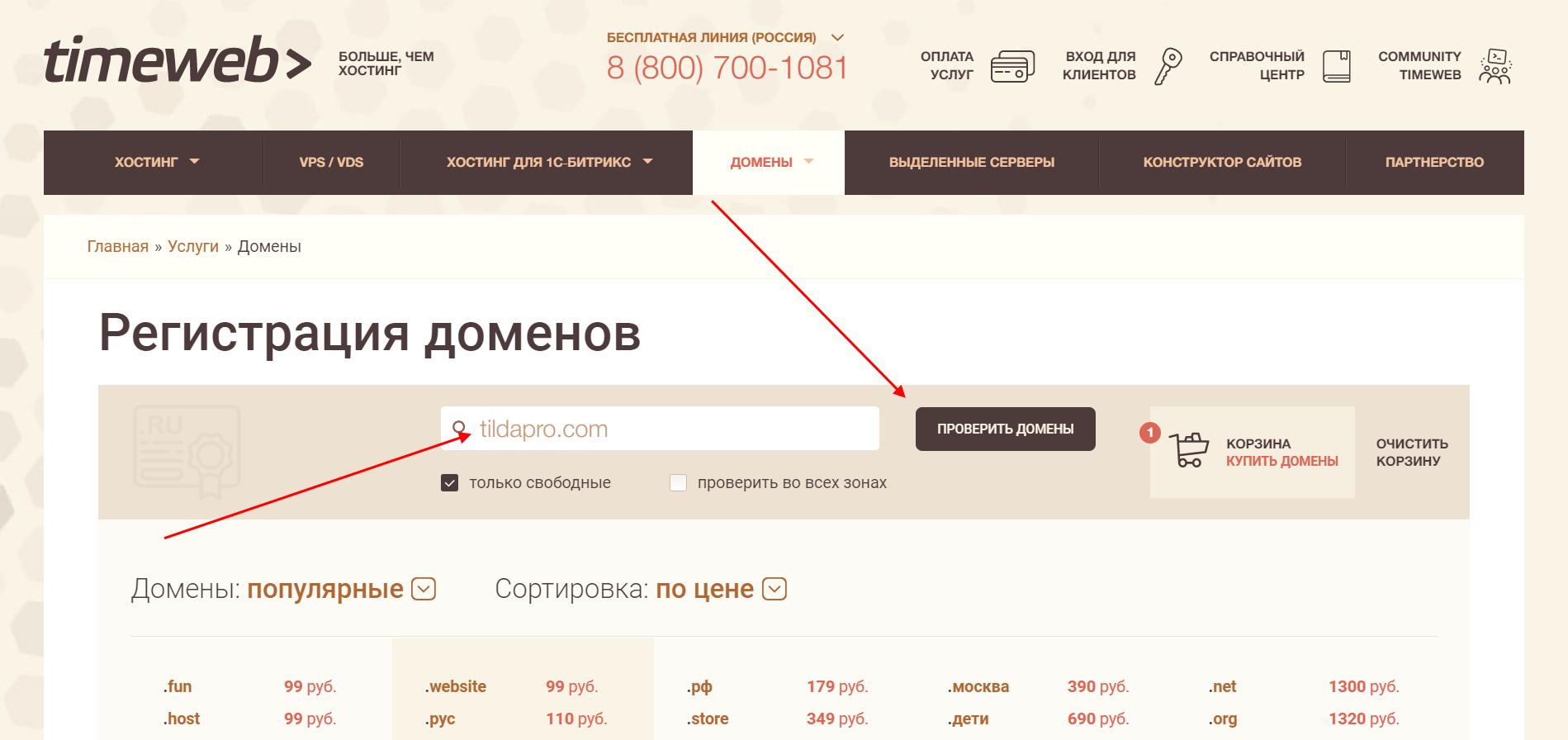 Как проверить доступность домена на Timeweb