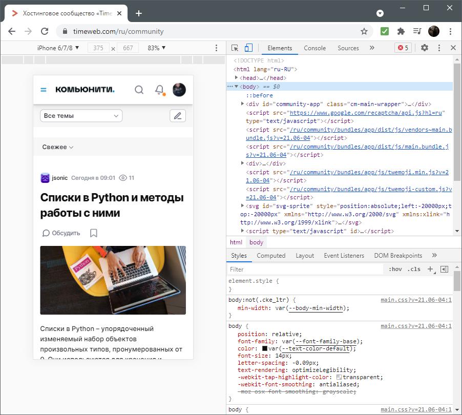 Вид страницы в браузере при разборе темы frontend