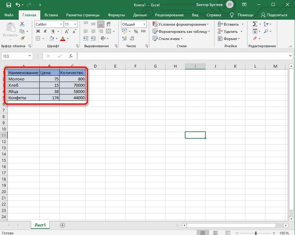 Результат создания простой таблицы в Microsoft Excel