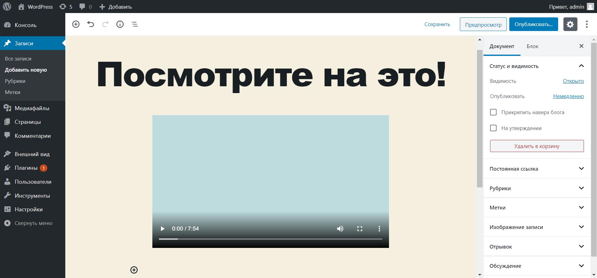 Как добавить свое видео на сайт WordPress