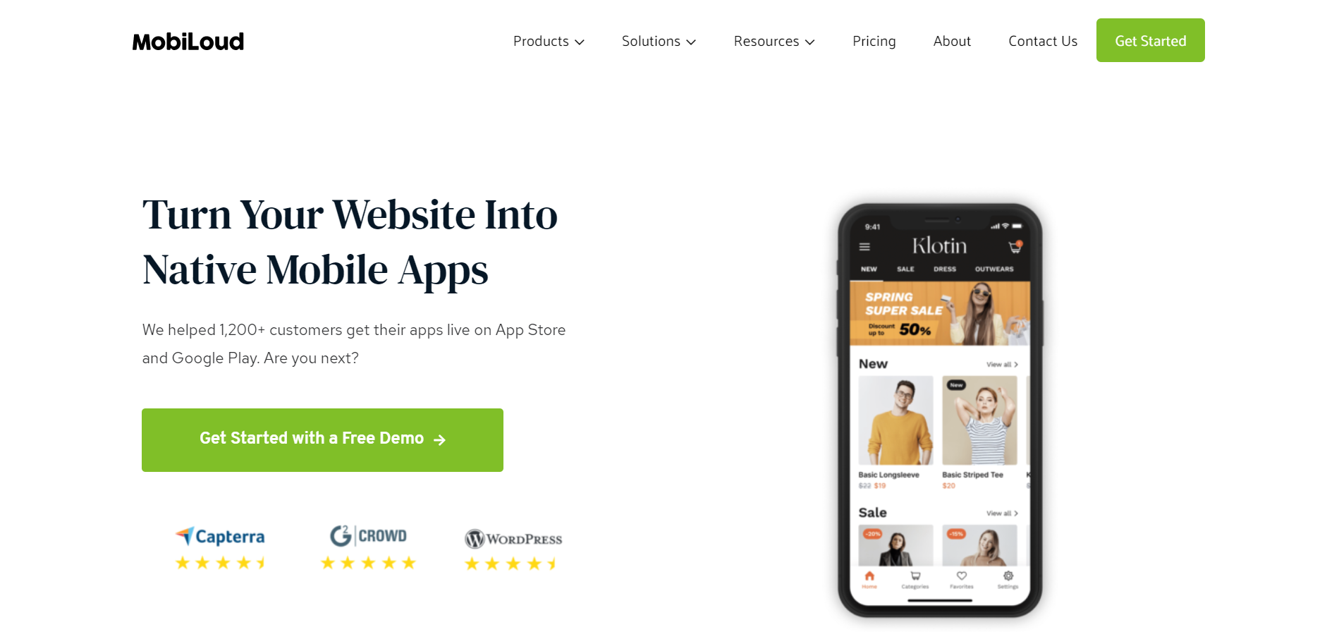 MobiLoud сервис для создания приложения из сайта на WordPress