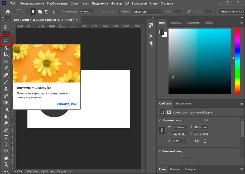 Выбор инструмента Лассо в программе Adobe Photoshop