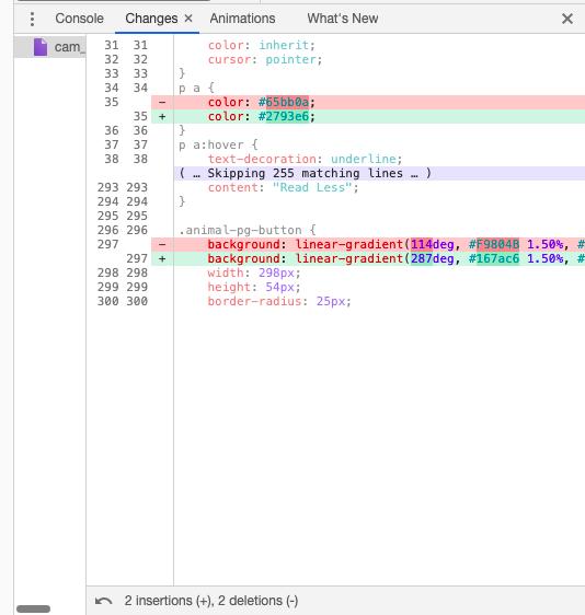 Список изменений в Chrome DevTools