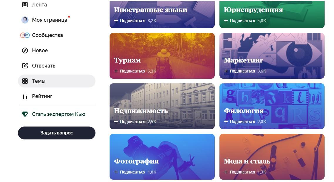 Какие тематики есть в Яндекс.Кью