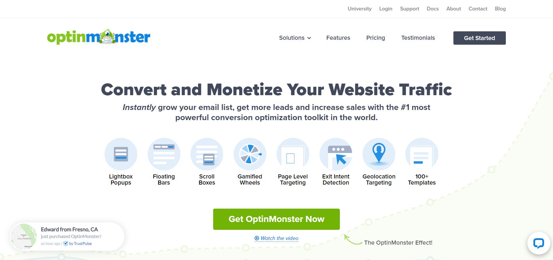 OptinMonster сервис для создания pop-up окна