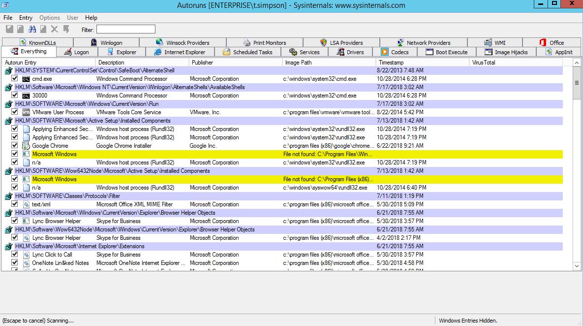Autoruns Windows Server