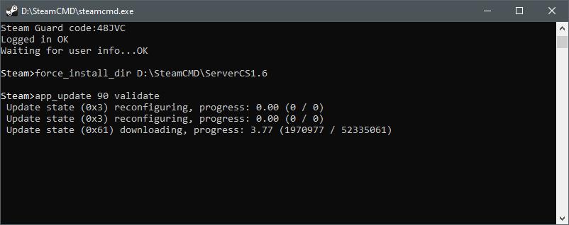 Успешное обновление файлов для создания сервера в CS 1.6 через SteamCMD