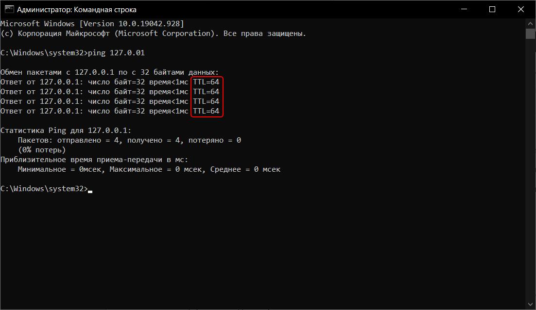 Как узнать значение TTL на компьютере