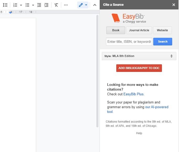 Вставка библиографии через EasyBib в Документы Гугл