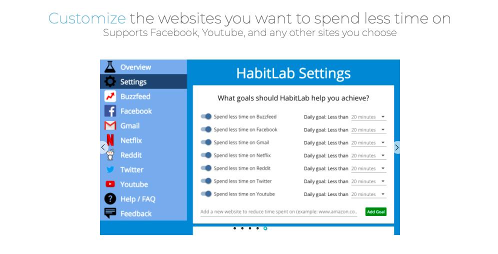 Внешний вид расширения habitlab