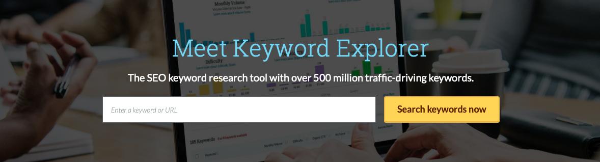 Интерфейс сайта Moz Keyword Explorer