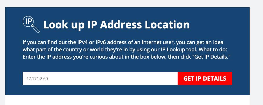 Главная страница сервиса по поиску информации об IP-адресе