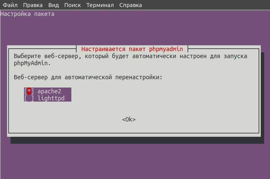 Выбор веб-сервера Apache2 при установке phpMyAdmin