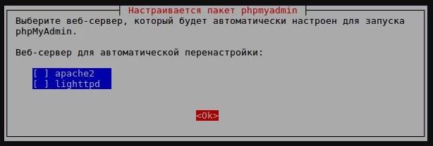 Выбор веб-сервера NGINX phpMyAdmin