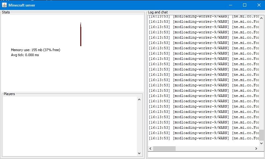 Консоль нового сервера Minecraft с отображением его текущего состояния