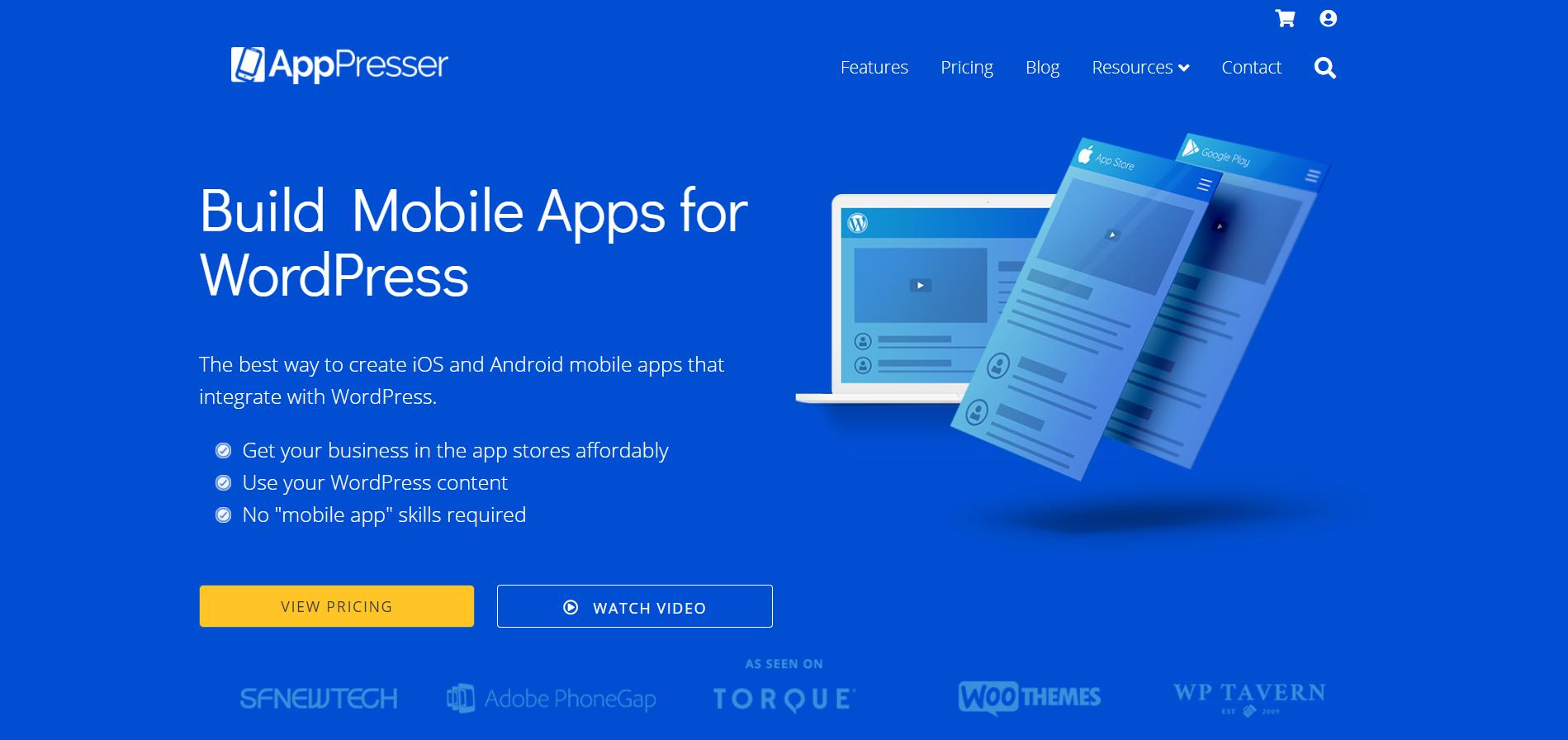 AppPresser сервис для создания приложения из сайта на WordPress