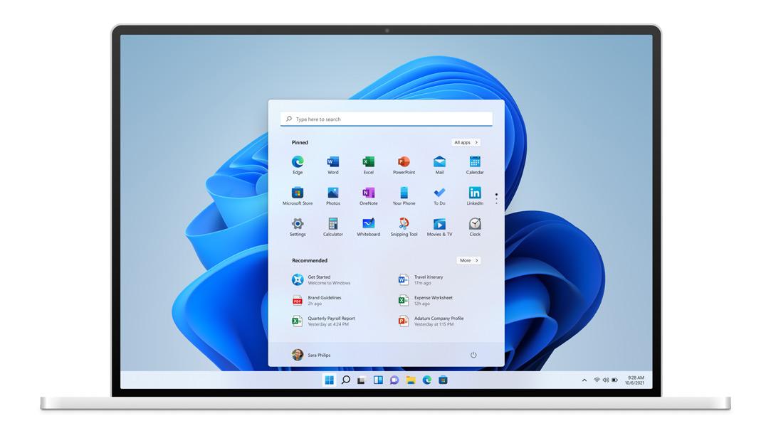 Новый облик меню Пуск в Windows 11