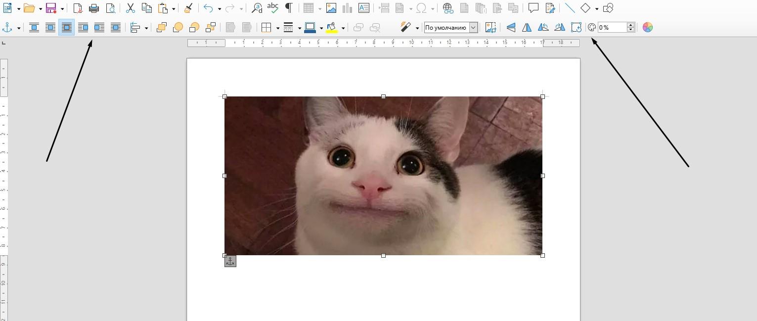 Редактирование изображения через специальную панель инструментов