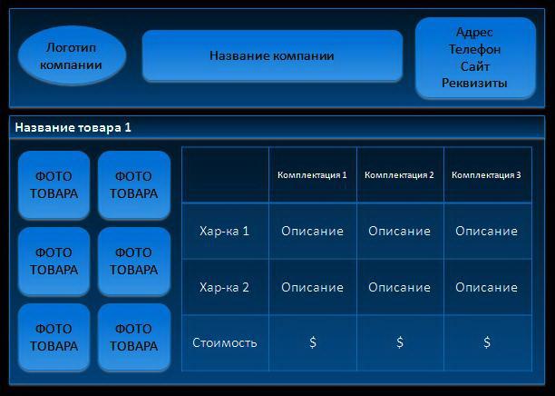 Шаблон презентационного прайс-листа с табличной структурой