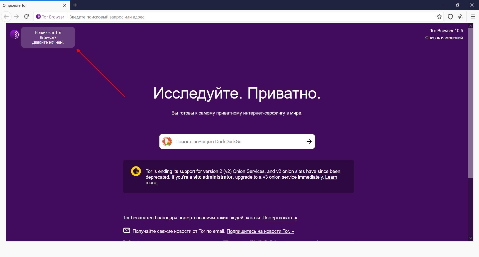 Работа в браузере Tor Browser