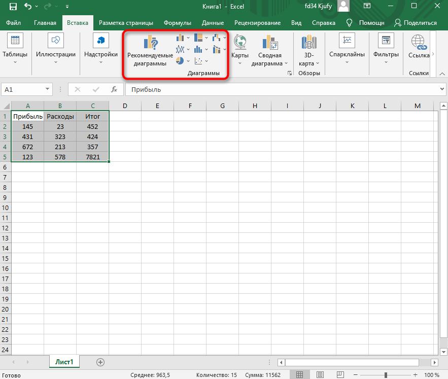 Кнопка добавления диаграммы для построения диаграммы по таблице в Excel