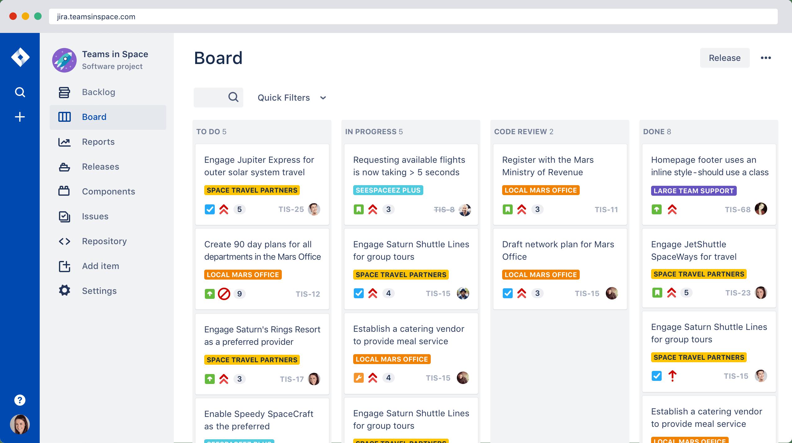 Интерфейс приложения Jira
