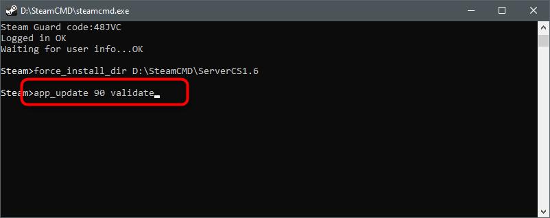 Команда для обновления файлов для создания сервера в CS 1.6 через SteamCMD
