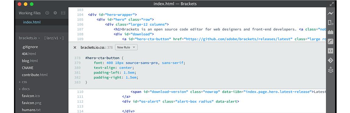 HTML-компилятор Brackets