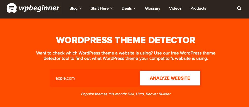 Главная страница WordPress-theme-detector