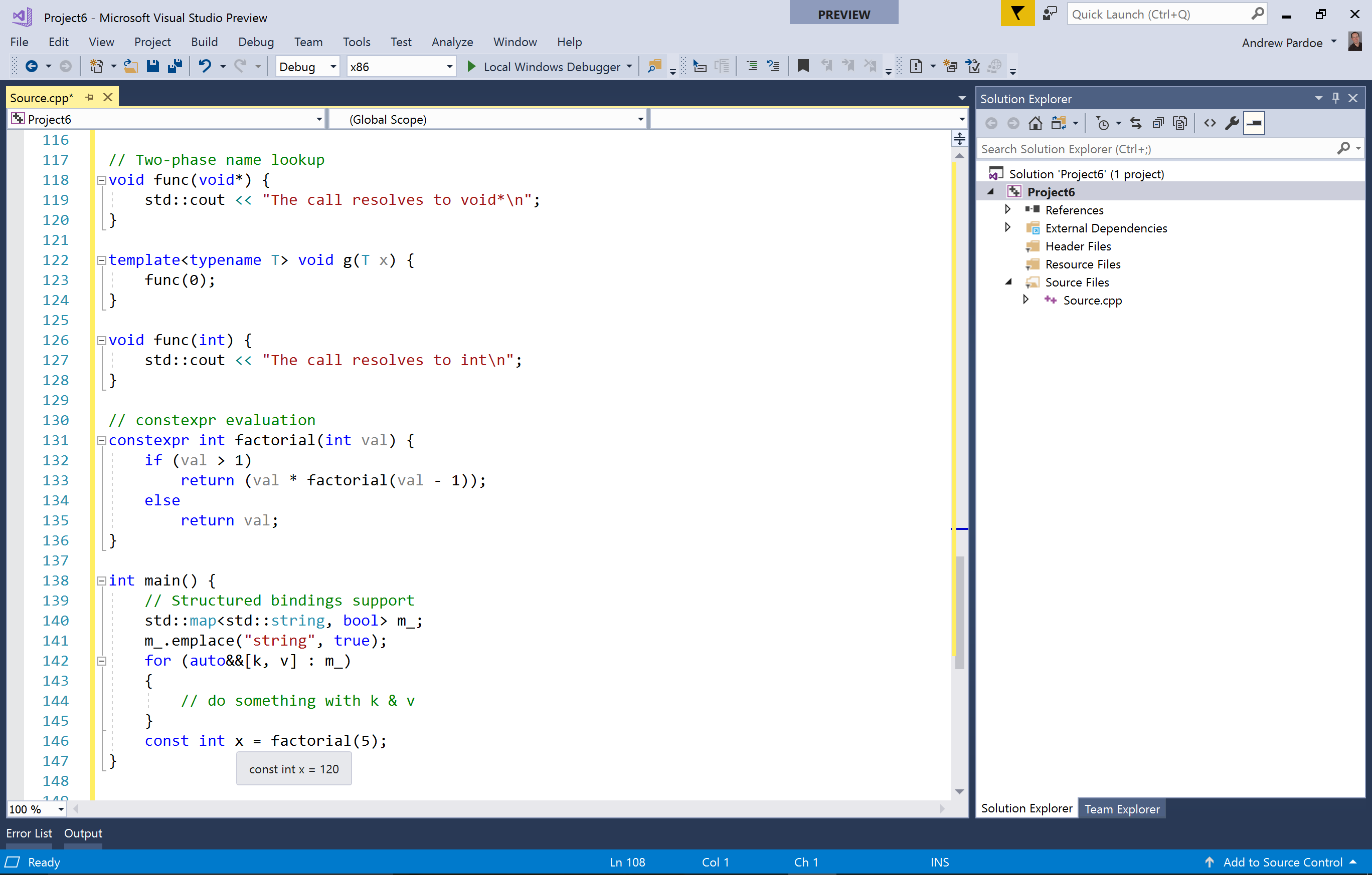 Интерфейс приложения Microsoft Visual