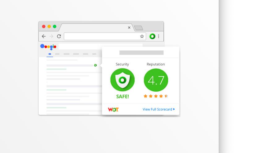 Пример отображения рейтинга в Web of Trust