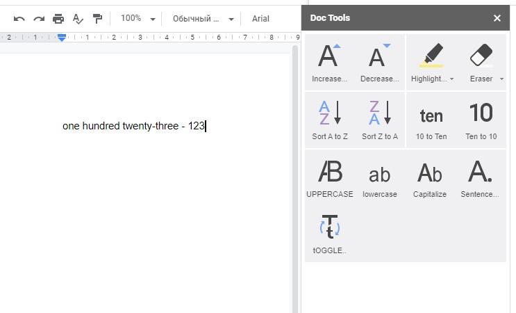 Дополнение Doc Tools в Google Документах