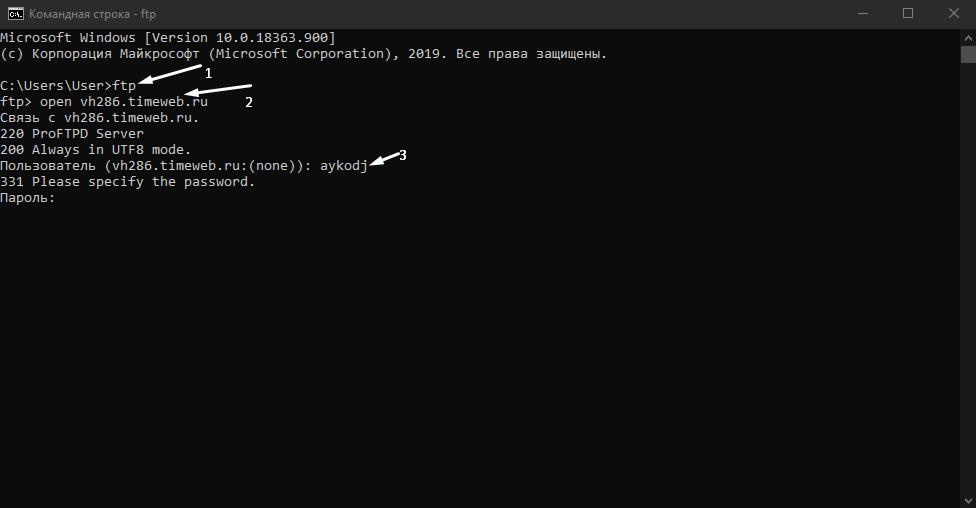 Как подключиться к FTP-серверу с помощью командной строки Windows