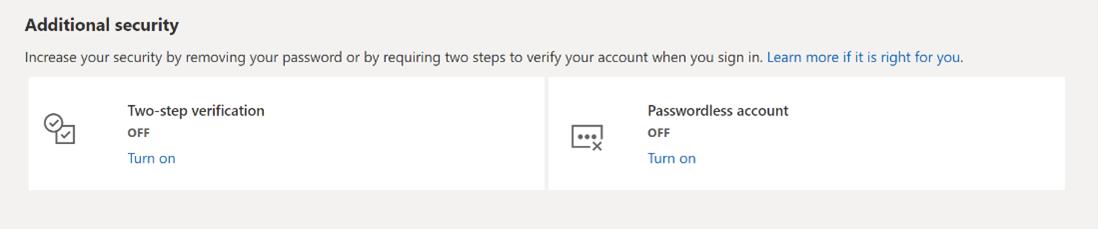 Отмена паролей в учетных записях Microsoft