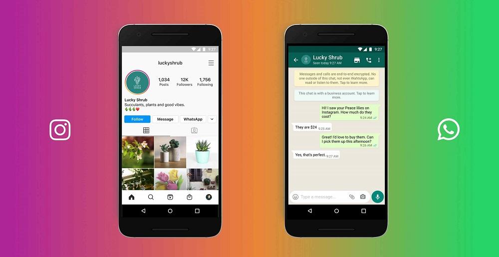 Возможность начать переписку в WhatsApp из профиля Instagram