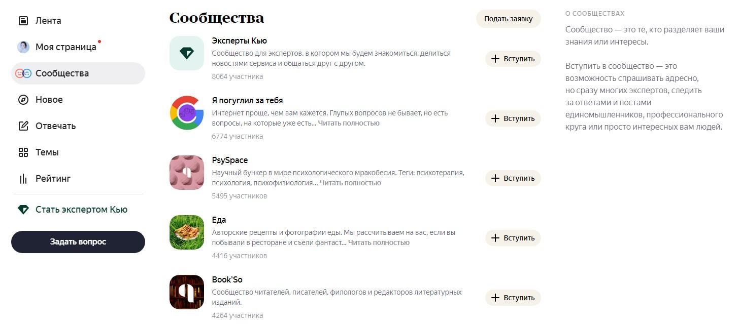 Примеры сообществ в Яндекс.Кью