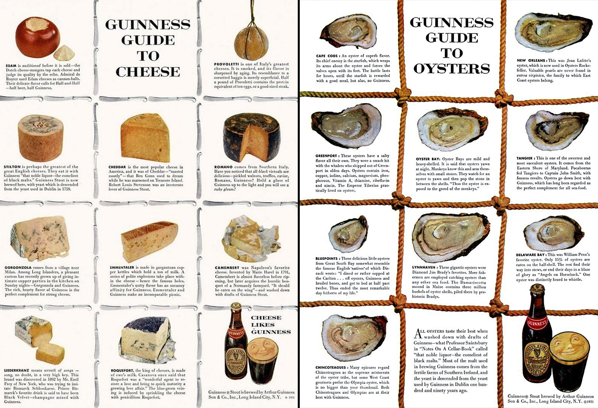 Нативная реклама пива Guinness с сыром и устрицами