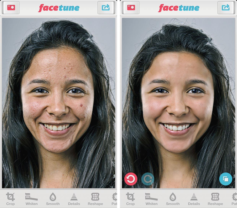 Пример работы приложения Facetune